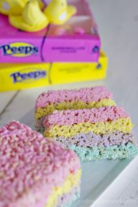 Layered Peeps Crispy Rice Cereal Treats from Yellow Bliss Road