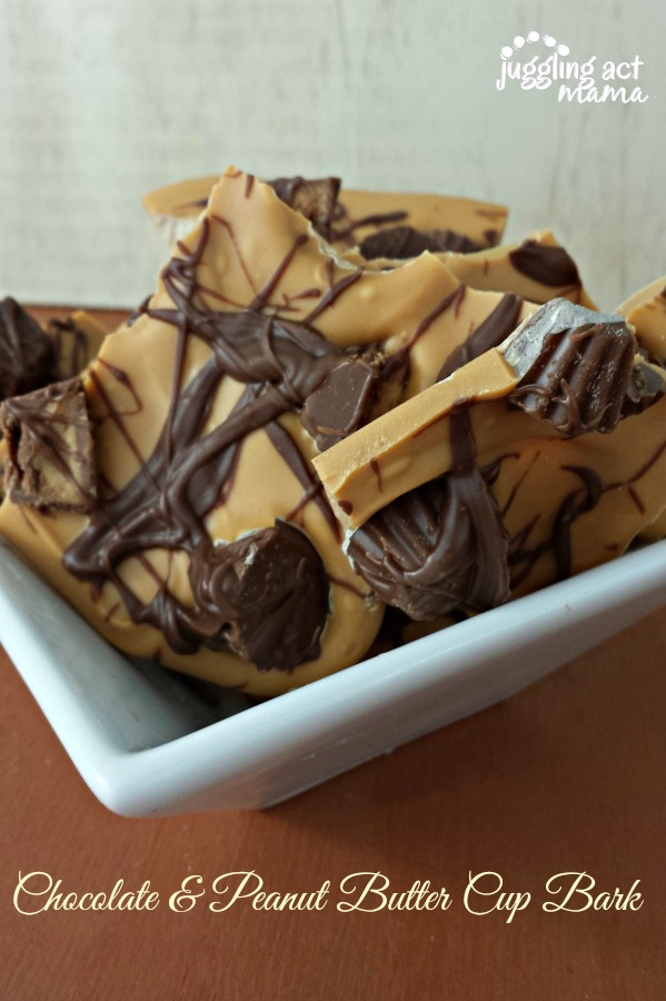Chocolate & Peanut Butter Cup Bark -- Juggling Act Mama