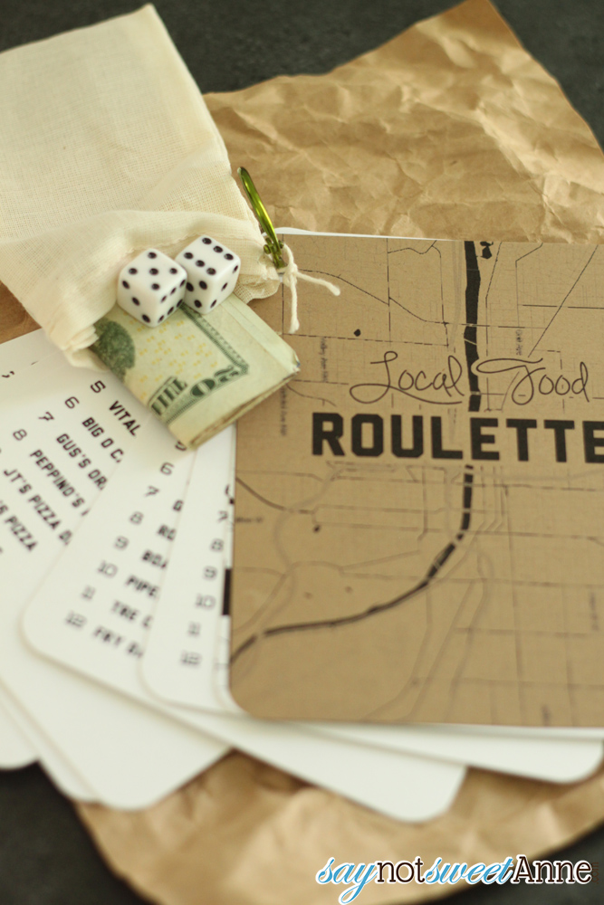 Inexpensive, easy, and AWESOME gift for the foodie in your life! Local Food Roulette! | saynotsweetanne.com