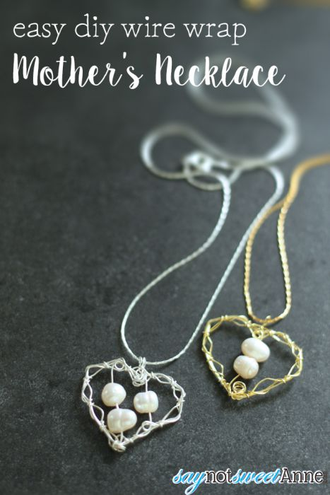 DIY Wire Wrapped Mother's Necklace. Easy to do, and so lovely! Add more pearls for each child! | saynotsweetanne.com