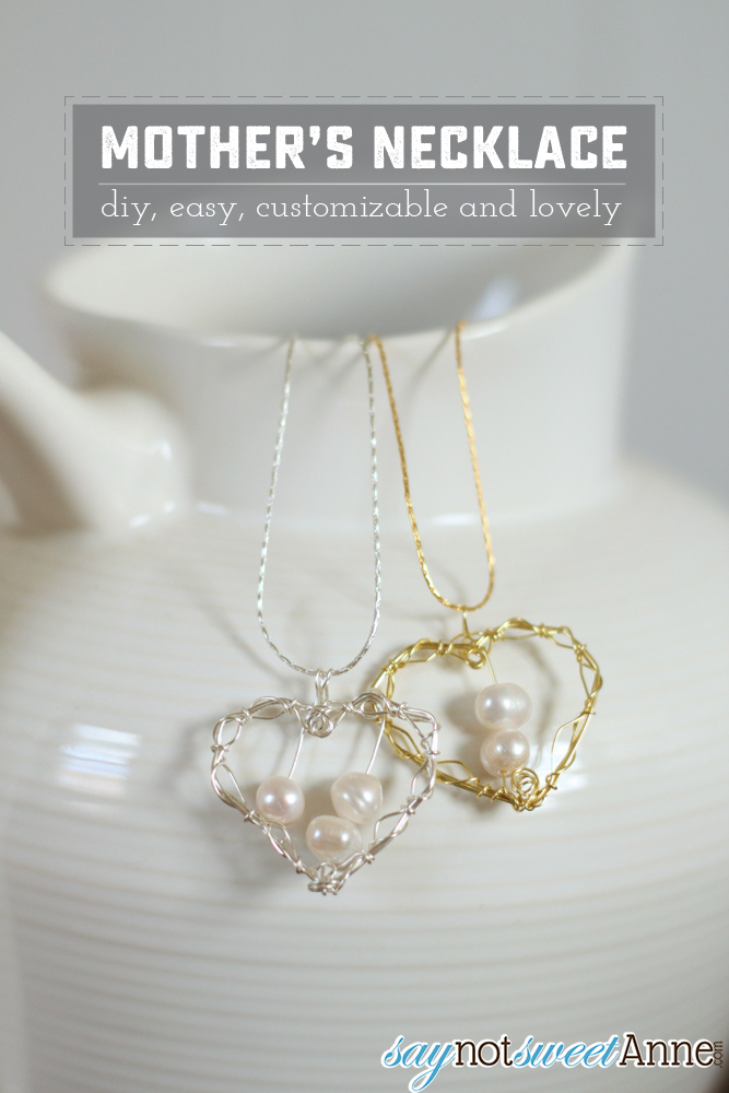 DIY Wire Wrapped Mother's Necklace. Easy to do, and so lovely! Add more pearls for each child!   saynotsweetanne.com
