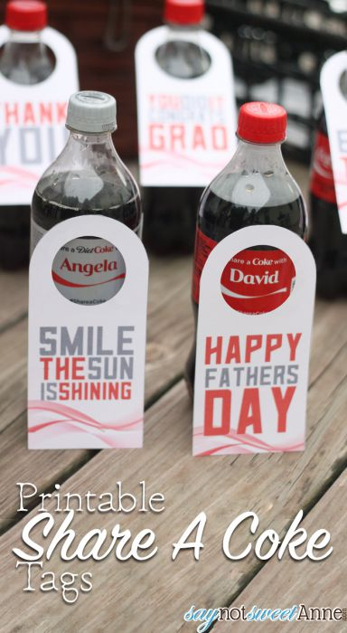 Printable Soda Bottle Tags! Great for thank you gifts, grads and dads! | saynotsweetanne.com