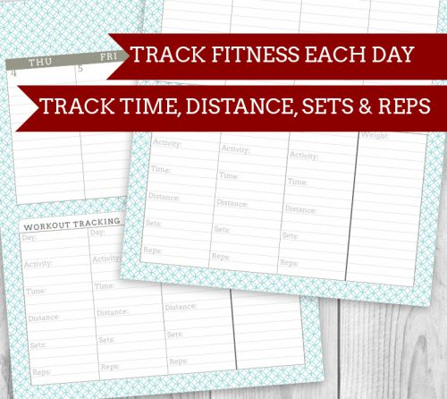 Fitness/Workout tracking Printable Planner! 4 colors, tons of veriations and add ons to make your unique planner | saynotsweetanne.com