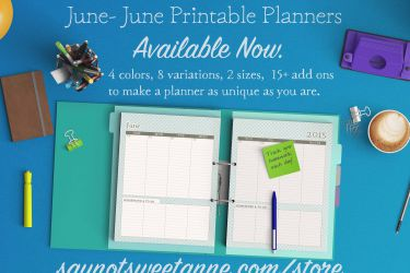 Printable June - June Planners! Several variations, sizes, colors and add ons to make your prefect and unique planner. | Saynotsweetanne.com