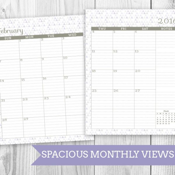 Printable Planner Monthly Views
