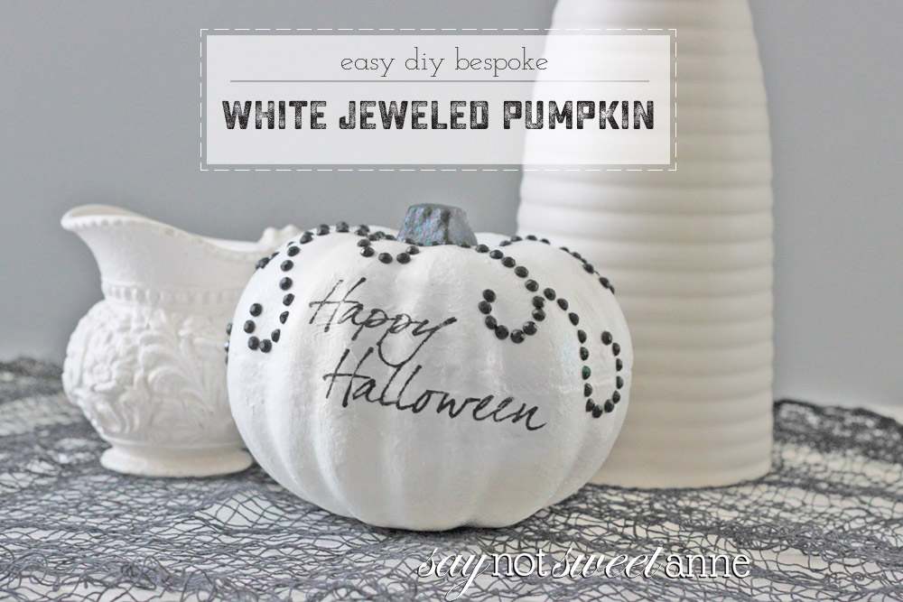 Beautiful Halloween Pumpkin Craft! Make this bespoke jeweled pumpkin with just a few supplies. | saynotsweetanne.com
