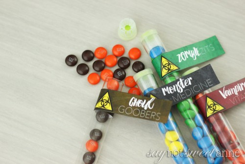 Printable Halloween Candy Labels! Dress up some simple treats with these spooky labels! | saynotsweetanne.com
