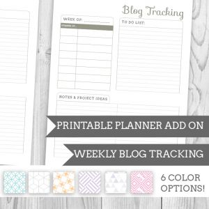 Printable Planner Blog Tracking Add On