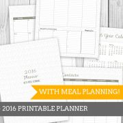 Full Geo Grey Printable Meal Planner 2016
