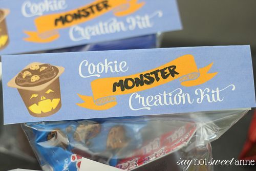 "DIY Cookie ""Monster"" Kit uses Snack Pack pudding cups, single serve cookies and some awesome stickers to make a hands on Halloween Treat! 