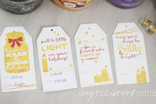 Dress up your Jar Candle gift with Printable Candle Themed Tags! Perfect for a last minute gift! | saynotsweetanne.com