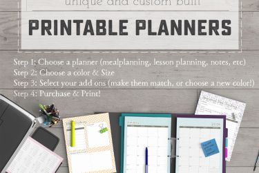 2016 Unique, Custom Built Printable Planners at saynotsweetanne.com! Meal Planning, Homework Tracking, Lesson planning, Fitness log and more - plus Add-Ons like Blog tracking and Sponsored Post tracking!