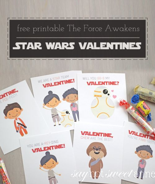 Free Printable Star Wars Valentines | Rey, BB-8, Chewbacca, Poe and more! | saynotsweetanne.com