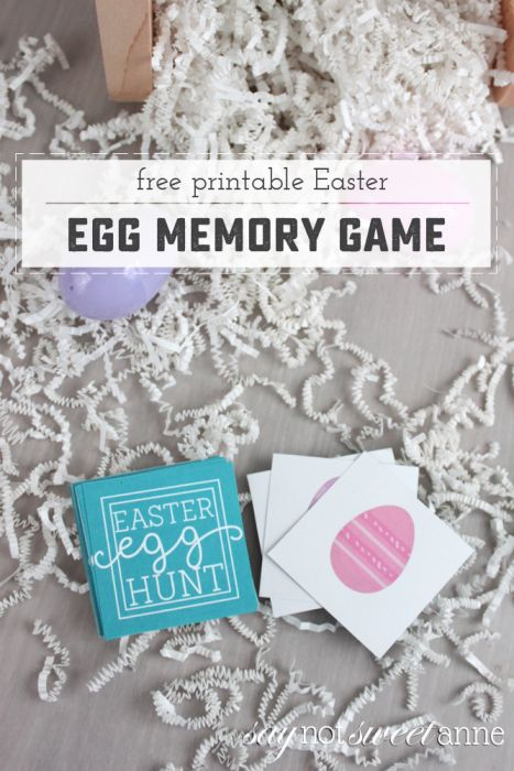 Free Printable Easter Memory Game. Great for Easter baskets or treat bags! | saynotsweetanne.com