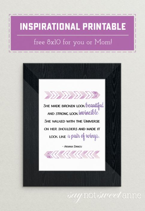 A beautiful Ariana Dancu poem printable about strong women. Perfect as a gift to Mom, as an inspirational office wall hanging. | Saynotsweetanne.com