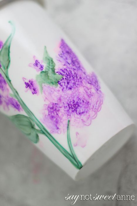 A Better Way to make a Sharpie Mug! More than just coloring a mug and baking it, this method creates a beautiful water color effect, allows you to erase while coloring and uses Dishwasher safe mod podge! | saynotsweetanne.com