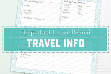 Vacation in confidence knowing that your loved ones know how to reach you. This printable is great for pet and baby sitters, friends and family alike!   saynotsweetanne.com
