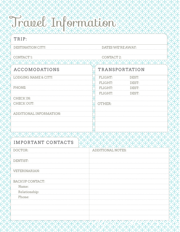 Vacation in confidence knowing that your loved ones know how to reach you. This printable is great for pet and baby sitters, friends and family alike! | saynotsweetanne.com