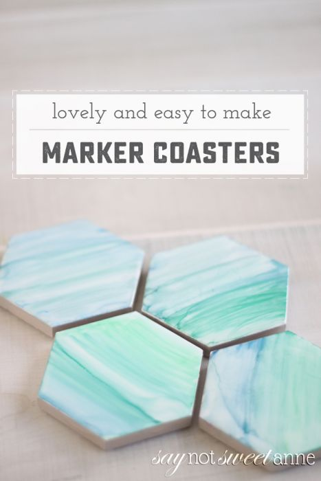 "Beautiful DIY Permanent Marker ""painted"" coasters. This technique is so unique and lovely, and it's so easy! 