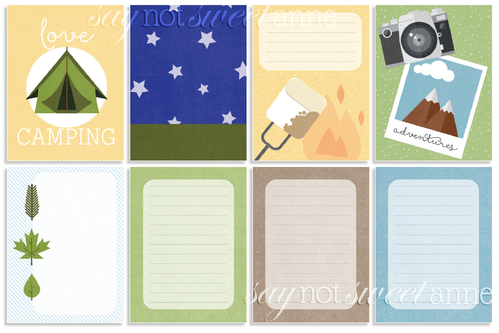 picture relating to Free Printable Journal Cards identified as Printable Tenting Magazine Playing cards - Lovable Anne Patterns
