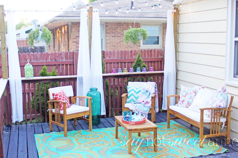 Diy deck curtains and makeover sweet anne designs diy deck curtains extend your existing deck posts to hold beautiful and luxurious curtains solutioingenieria Choice Image