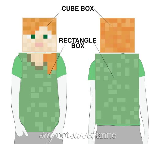 Printable Alex Minecraft Costume! This free printable and a couple of boxes are all you need to become Alex from Minecraft! (Creeper and Steve available too!) | saynotsweetanne.com