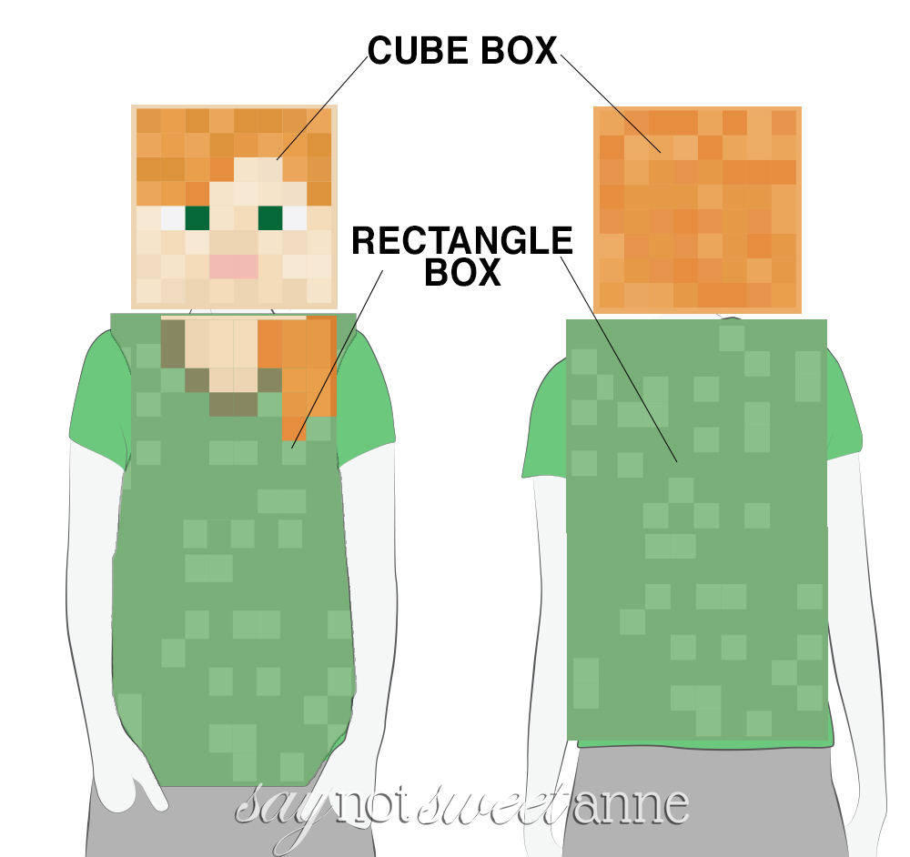 Printable Alex Minecraft Costume! This free printable and a couple of boxes are all you  sc 1 st  Sweet Anne Designs & Minecraft Alex Printable Costume - Sweet Anne Designs