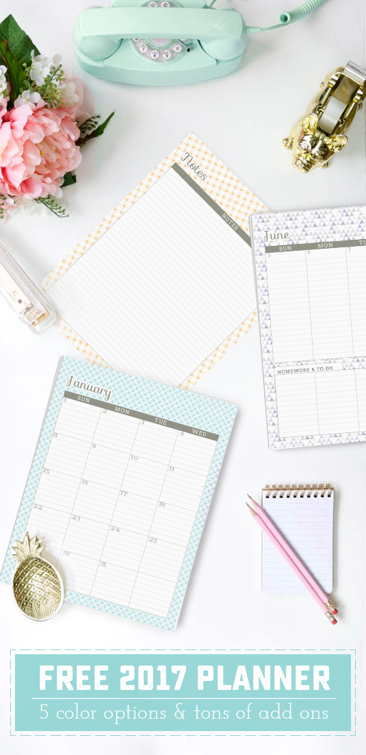FREE Printable 2017 planner! This is one of the best free planners out there. All the dates are pre-filled, there is a full page year view, notes pages at the end of each month, and TONS of add ons to make it custom. Did I mention meal planning, fitness tracking, lesson planning and student planners are also available? | saynotsweetanne.com