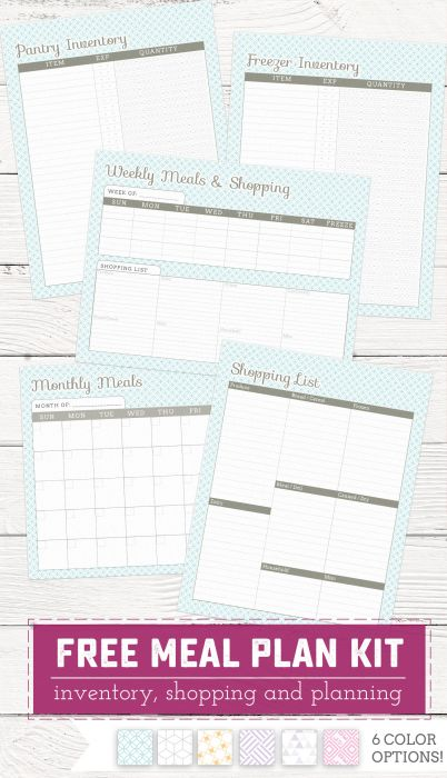 Free Meal Planning, Shopping and Inventory Kit | saynotsweetanne