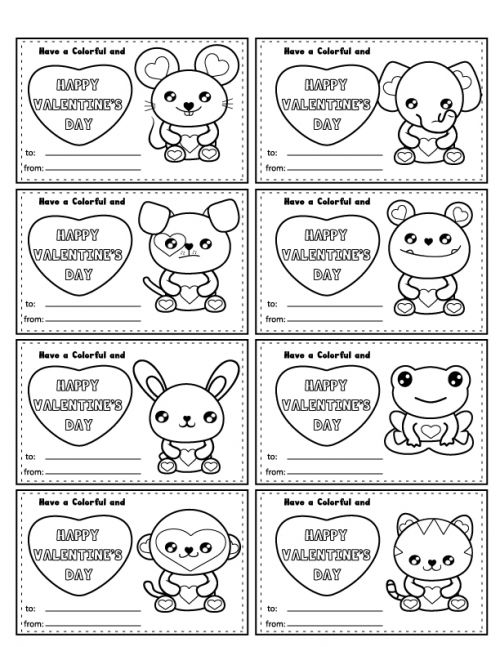 Free Printable Color-In Valentines! Have your little color them in, or give them with crayons as a candy-free Valentine activity! | Saynotsweetanne.com