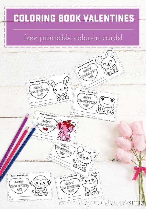 Free Printable Color-In Valentines! Have your little color them in, or give them with crayons as a candy-free Valentine activity!   Saynotsweetanne.com