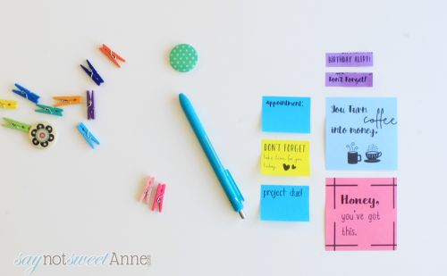 Print on Sticky Notes or Post-Its! It is easy and fun making custom stickers and flags with your own beautiful fonts! Saynotsweetanne.com