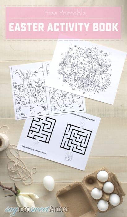 Free Printable Easter Activity Book - keep kids busy in church or before dinner with tic tac toe, coloring pages, and more!