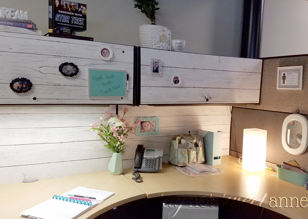 DIY Shiplap Wall. A fast, temporary way to add a beautiful shiplap look to your wall! Perfect for renters and office cubicles. | saynotsweetanne.com