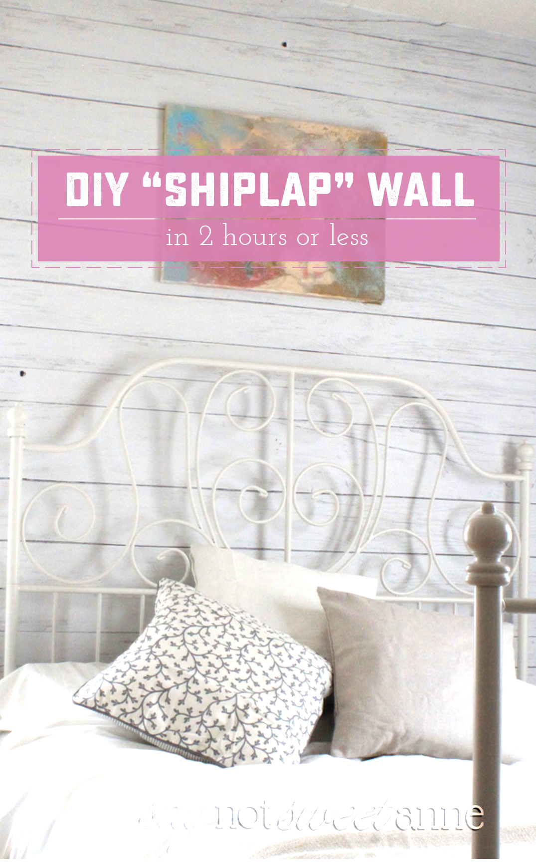 DIY Shiplap Wall. A fast, temporary way to add a beautiful shiplap look to your wall! | saynotsweetanne.com