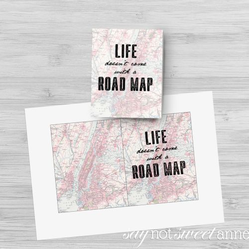 "Printable Father's Day card and gift idea! Saying: ""Life Doesn't Come with a Road Map,I'm thankful I've had you to give me directions."" 