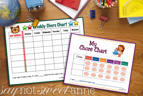 Get Children to do their chores without nagging. Try these simple printables, tips and tricks to teaching kids chores | saynotsweetanne.com