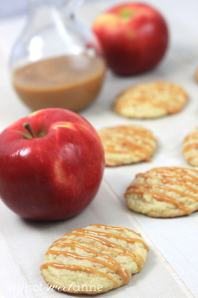Caramel Apple Cookies - Delicious, out of the ordinary, and easy to whip up in a hurry! | Saynotsweetanne.com | #apple #cookies #caramel #dessert