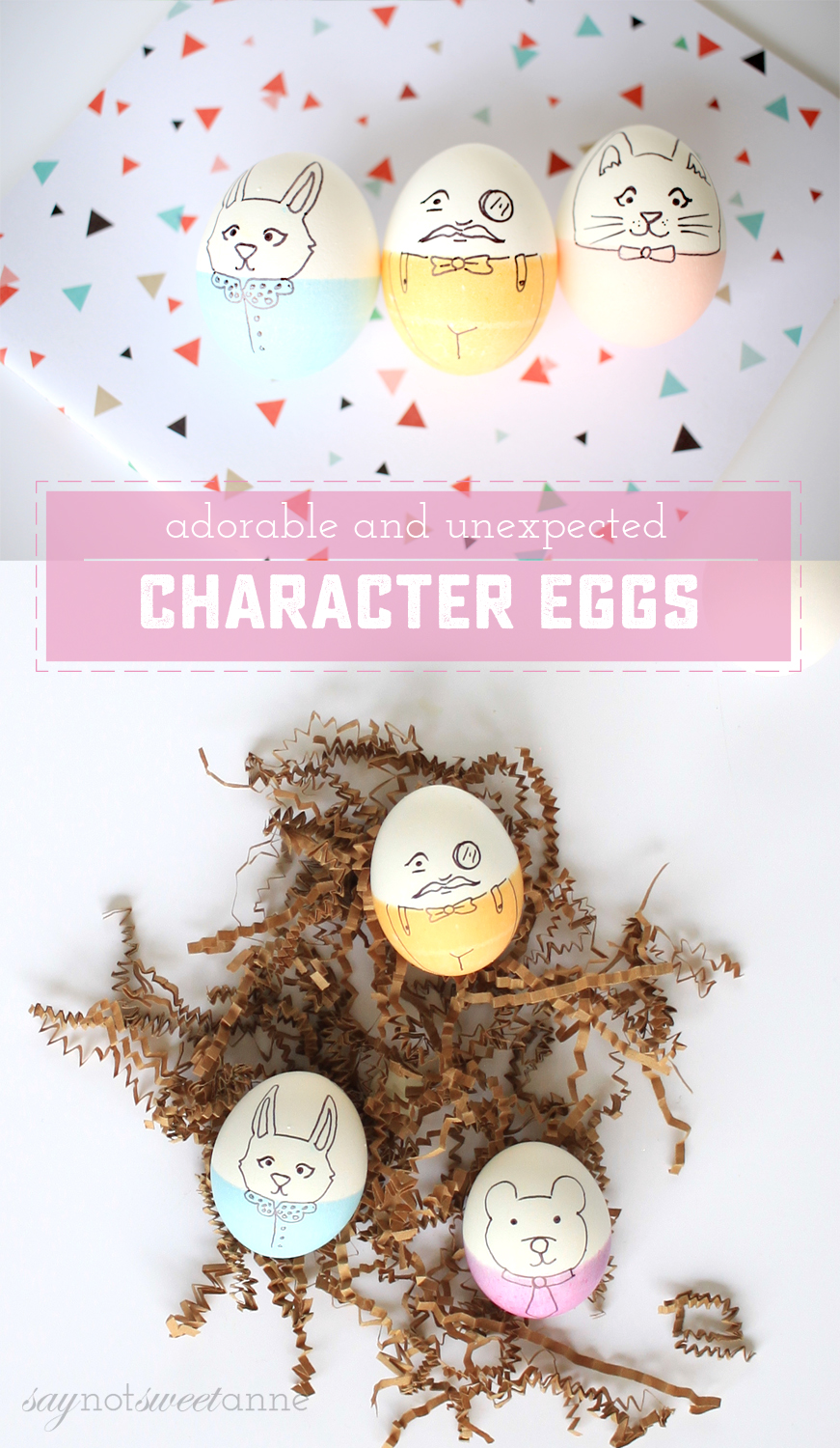 How To Make Absolutely Adorable Character Easter Eggs. A simply dye job and some marker make these beautiful eggs! | saynotsweetanne.com