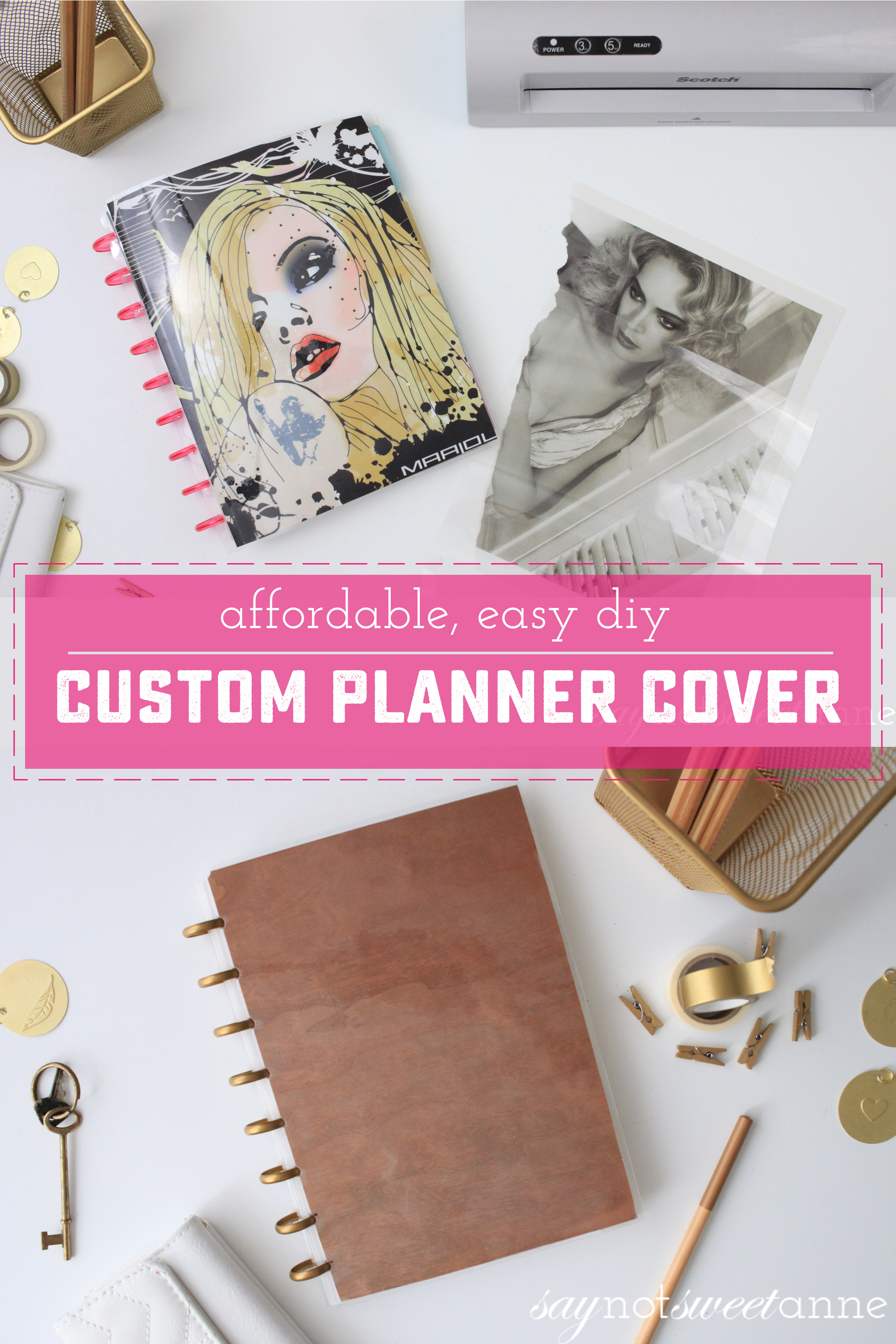 Make your own custom covers for pennies, and without proprietary kits! Perfect for Martha Stewart, Tul, Arc, Create 365 MAMBI Happy Planners, IQ 360, and Levenger Circa brands! | Saynotsweetanne.com
