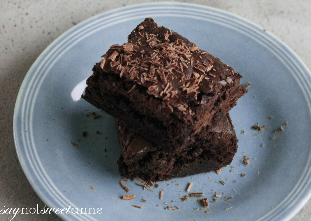 Dark Magic Chocolate Mocha Brownies A yummy cuppa-joe infused recipe! | saynotsweetanne.com