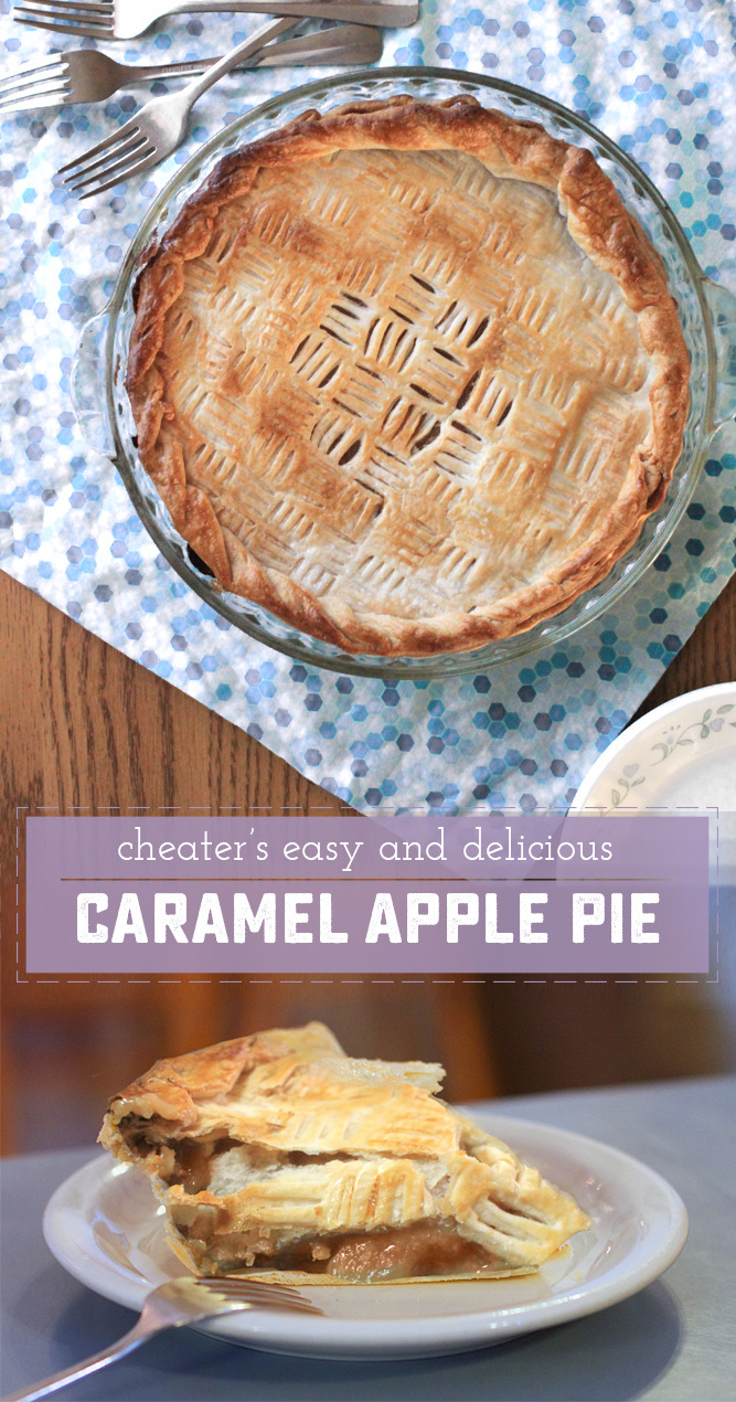 15 Minute Prep Cheater's Caramel Apple Pie - perfect for company, potlucks or just dessert! | saynotsweetanne.com