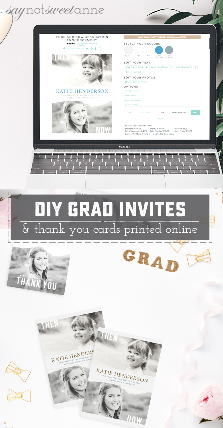 Diy graduation invitations and thank you cards online sweet anne use a little diy spirit and you computer to have beautiful custom graduation invites made filmwisefo