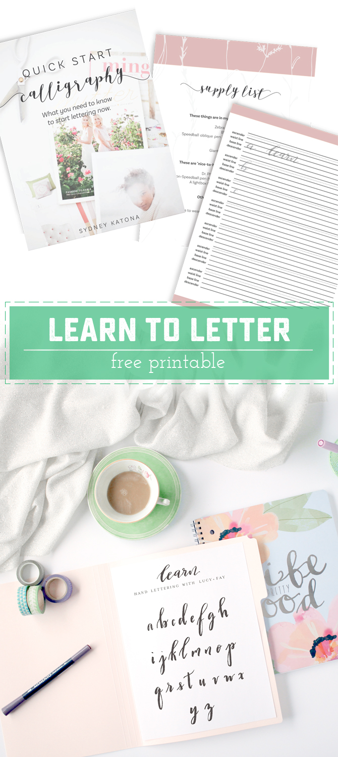 Learn How to Hand Letter! Get in on the trendy new DIY Hobby with a Free Printable learning worksheet. | Saynotsweetanne.com