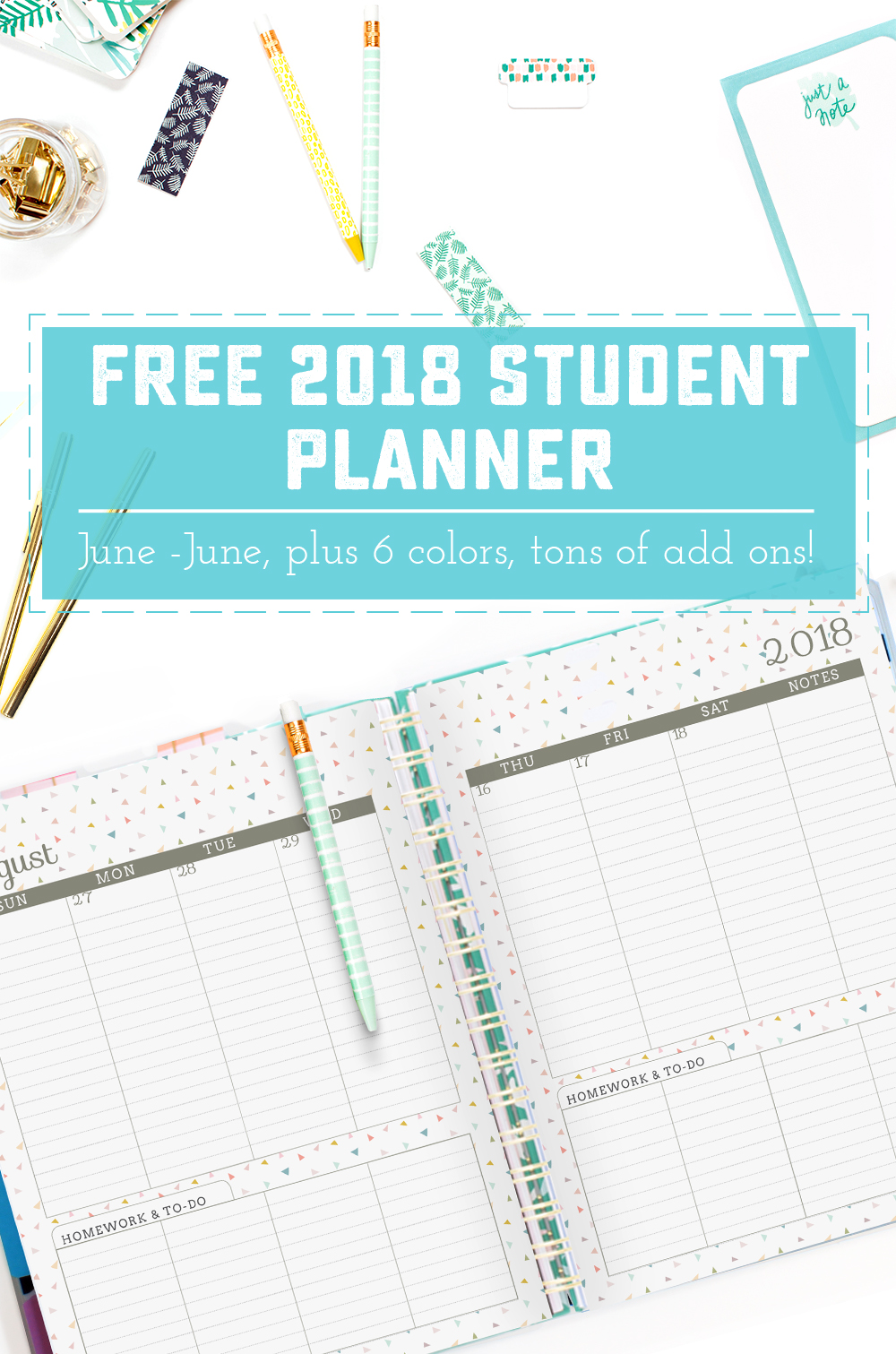 2018 June to June Student Planners - Sweet Anne Designs